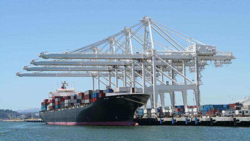 484313 - huge cargo ship at port